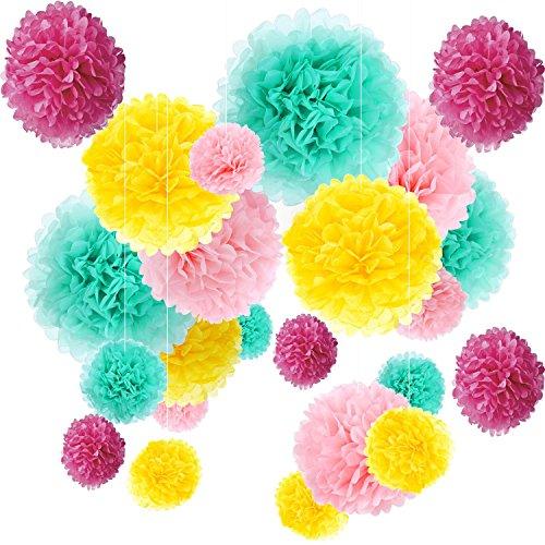 liebhaus 24x Papierblumen Pompons Lila Gelb Hell Pink Mint (Gelb Und Lila Hochzeit)