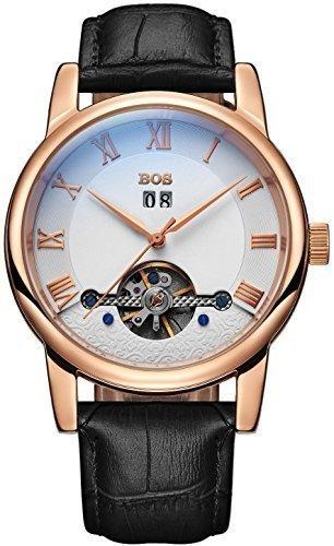 Angela Bos Men 's Fashion mecanico automatico caja de oro negro impermeable blanco marcar Relojes banda de cintura