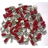 Cosses électriques doubles rouges 6.3 - Sachet de 50 cosses