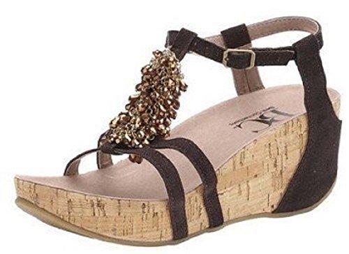 Sandale talon haut de Best Connexions Cuir velours Marron - Marron