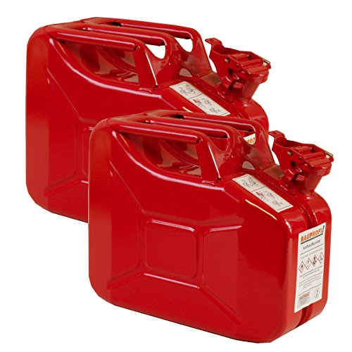 Preisvergleich Produktbild 2er Set 10 Liter Benzinkanister Metall GGVS mit Sicherungsstift rot Blechkanister
