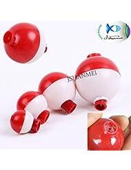 jshanmei® ABS duro Snap On Float Bobbers Pesca corcho blanco con rojo botón de presión de Ronda de pesca boya flotador bobbers-1inch, 1.25inch, 1.5inch 1,5, 1,27cm), 2 Inch-5pcs