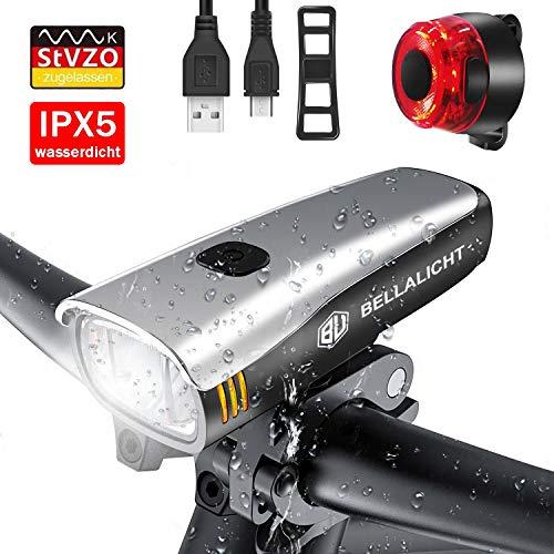 BELLALICHT LED Fahrradlicht Set, StVZO Zugelassen USB Wiederaufladbare Fahrradbeleuchtung fahrradlichter Set, CREE LED/Samsung Li-ion Batterie Laufzeit 6 Stunden, IPX5 Wasserdicht -