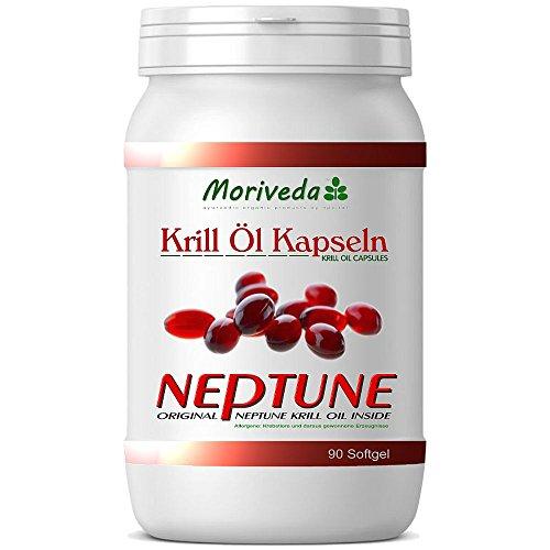 Krillöl Kapseln 90, 100{d379c9835b2b2f3110fbbaffb82abf5cd72626561ace95b9dee10dd53e03168d} reines NEPTUNE Premium Krill Öl - Omega 3,6,9 Astaxanthin, Phospholipide, Choline, Vitamin-E - Markenqualität von MoriVeda (1x90)