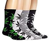 SEALEN Calzini Unisex in Cotone con Foglia di Marijuana per Uomo Donna 4 Paia