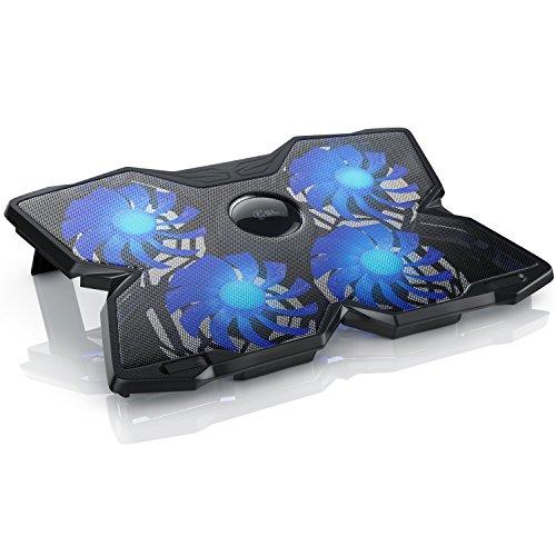 CSL - Refroidisseur pour PC Portable | Cooling Pad pour Ordinateurs Portables | Ventilateur pour Ordinateur Portable | Supersilent | 2 x Ports USB Type A |Blue LED Heat Sink Sink