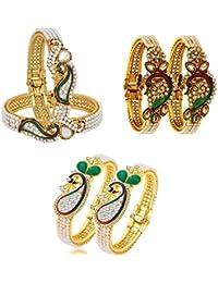 Zeneme Dancing Peacock Fashionable Bangle Set Bracelet Jewellery for Women & Girls Set of 3