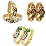 #10: Zeneme Dancing Peacock Fashionable Bangle Set Bracelet Jewellery for Women & Girls Set of 3