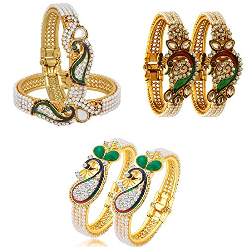 Zeneme Dancing Peacock Multicolour Gold Plated Bangles Set for Women(Set of 3)