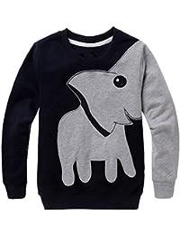 K-youth Sudadera para Niños Ropa Bebé Niña Elefante Impresión Camiseta de Manga Larga Ropa de Navidad Traje Sudadera Niños Sweat Shirt Otoño Invierno Blusas Bebe Niño