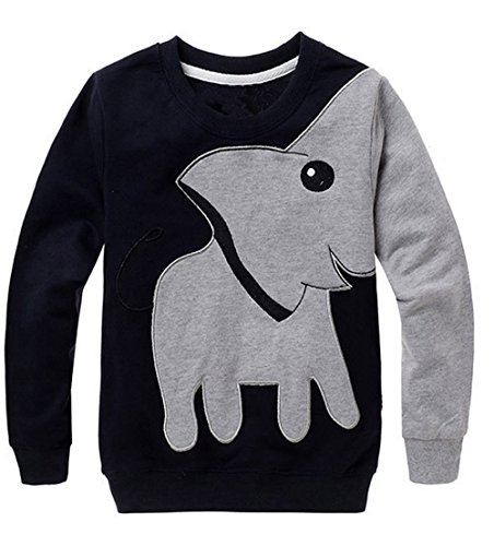 XXYsm Baby Sweatshirt Mädchen Jungen Pullover Tops + Hosen Unisex Lange Ärmel Elefant drucken Blusen Grau 4-5 Jahre