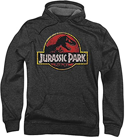 Jurassic Park - - Logo Stone Hommes Hoodie, X-Large, Charcoal