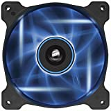 Corsair AF120 LED Quiet Edition Ventilador de PC (120 mm, Alto Flujo de Aire, Iluminación LED Azul) Paquete Soltero