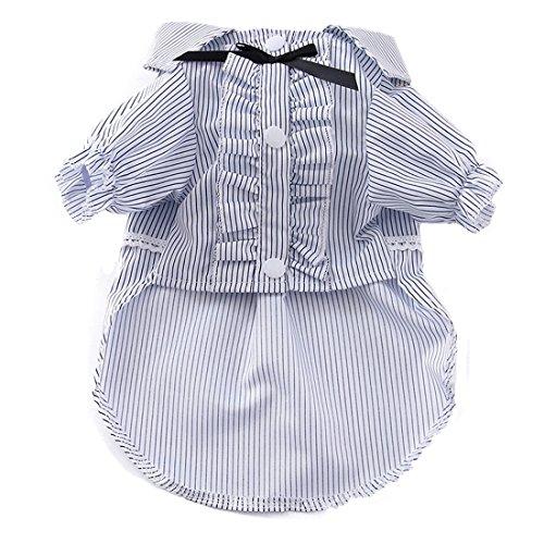 Haustier Kleiner Hund Outfits Kleidung Sommer Hemd Polo Shirt Dekor Kostüm Streifen Overall Jumper