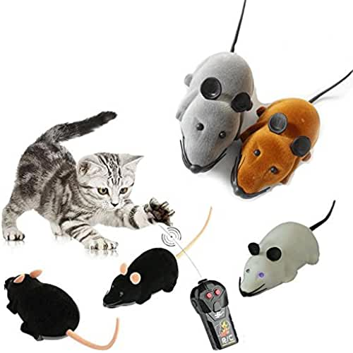 regalos tus mascotas mas kawaii demiawaking mando a distancia RC rata ratón inalámbrico para gato perro mascota divertido juguete de la novedad regalo con colores al azar.