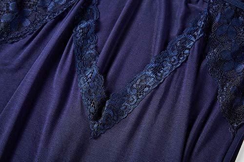 Fawnkiss Donna Sexy Pizzo Cotone Deep V Backless Babydoll Lingerie con G-string(Blau,XL/EU40-42)