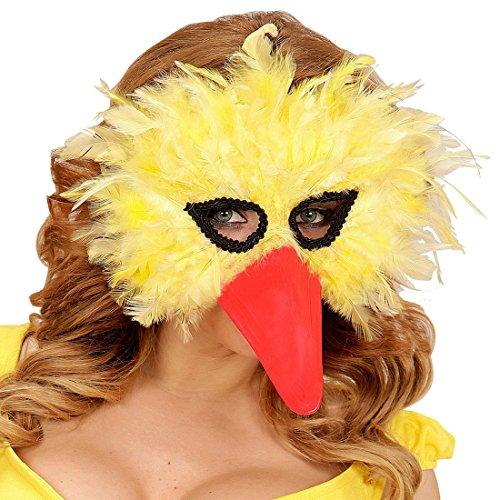 Amakando Federmaske Vogel Bibo Schnabelmaske Domino Augenmaske mit Federn Tiermaske Strauß Maske Vogel venezianisch Gelbe ()