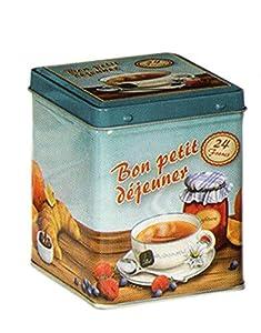 Bon petit Mortier–Style français Retro Vintage Classique–Couvercle à charnière carré–Boîte à thé 100g/Cuisine Boîte de rangement–9,5cm