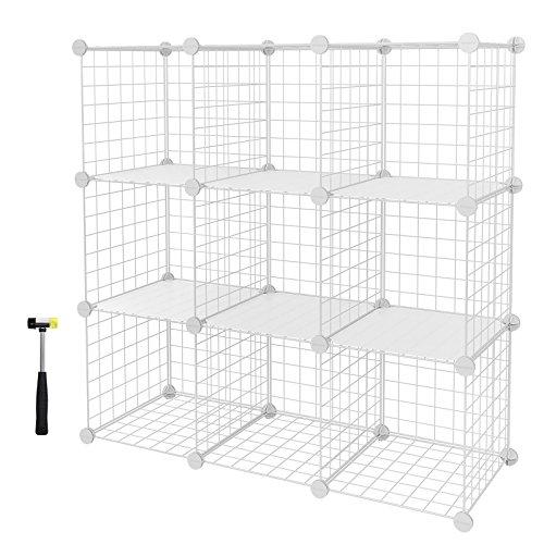 SONGMICS Armario modular de malla de hierro Armario de Almacenaje con 9 cubos Estantería Modulable Ajustable Organizador Multiuso para Libros Ropa Zapatos para Baño Habitación infantil Sala de estar 96 x 31,5 x 96 cm LPI115W