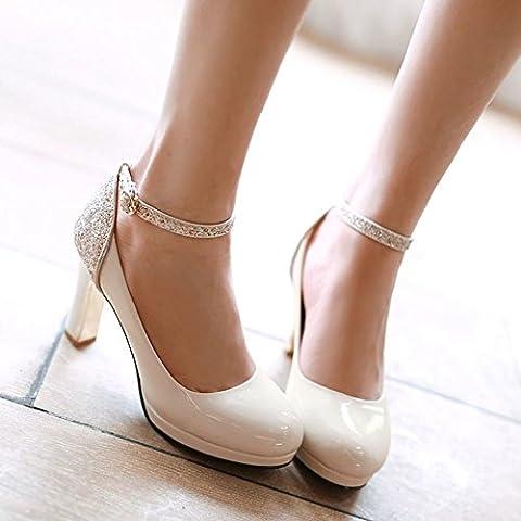 áspero atractivo con/los zapatos de la boca baja/Sra talones/vendaje/ronda/lentejuela/zapatos
