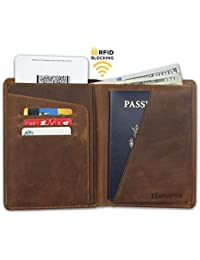 Auténtico cuero de caballo loco RFID bloqueo de pasaporte de viaje de la cartera