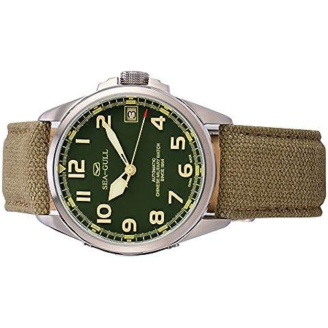 gabbiano orologio D813.581 uomini moda automatico in acciaio meccanico impermeabile zaffiro sintetico cinturino in pelle (Riserva Orologio Di Lusso)