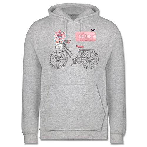 Vintage - Fahrrad Take a ride Watercolour - Männer Premium Kapuzenpullover / Hoodie Grau Meliert