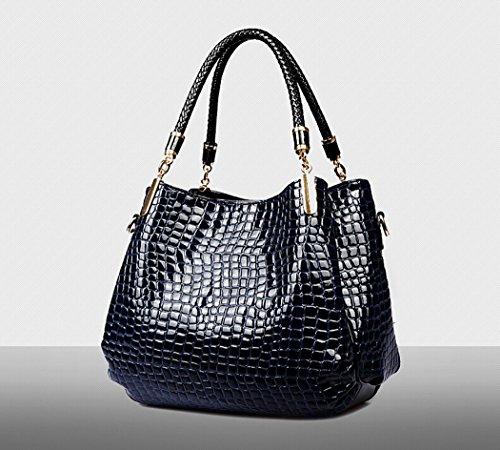 Coofit Damen Handtasche, Lackleder Tasche mit Alligator Muster, 3-teiliges Set mit Crossbody Tasche und Geldbeutel, Weinrot Dark Blue