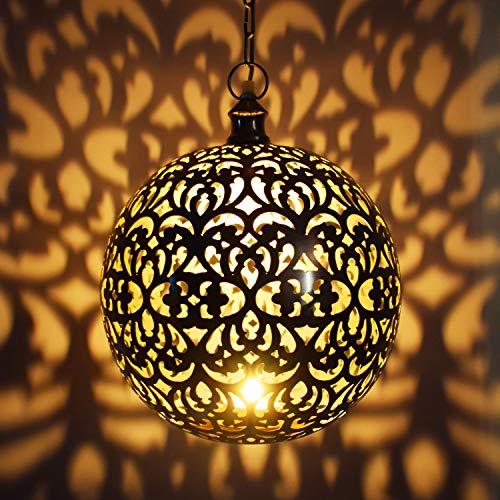 Orientalische Lampe Pendelleuchte Silber Arpana 40cm E27 Lampenfassung | Marokkanische Design Hängeleuchte Leuchte aus Indien | Orient Lampen für Wohnzimmer, Küche oder Hängend über den Esstisch