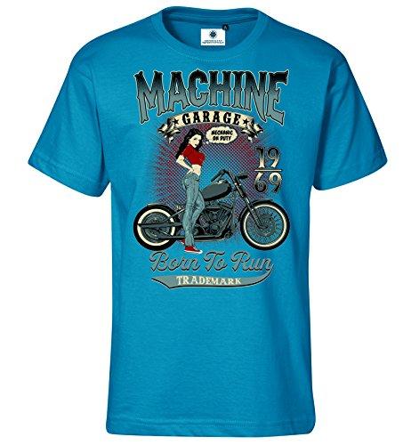 Customized by S.O.S Herren T-Shirt Machine Garage (3XL, Türkis)