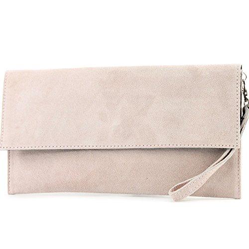 modamoda de - ital. Ledertasche Clutch Unterarmtasche Abendtasche Citytasche Wildleder T151 , Präzise Farbe:Rosabeige hell (Clutch)