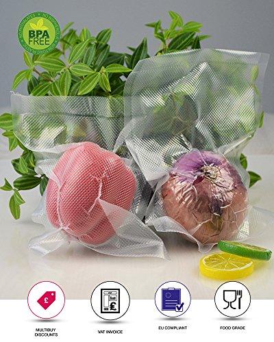 rightpak Vakuumfolie für Lebensmittel geprägt Taschen-Stück 100bags 15 x 20 cm