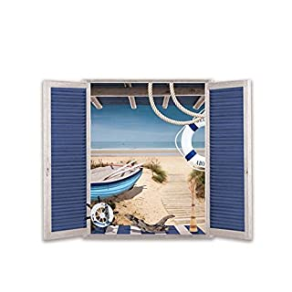 AIHOME™ 3D Beach Window Pattern Removable Wall Stickers Home Decals Wallpaper Wallcovering Wall Decoration for Living Room Bathroom Bedroom Coffee Shop Cafe Bedroom Decoration (Size:50 * 70cm/19.68*27.55inches )