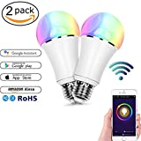 Smart Alexa Lampe,FEYG Zwei Pack Wi-Fi E27 LED Smart Glühbirne RGB Dimmbar Kompatibel Mit Amazon...