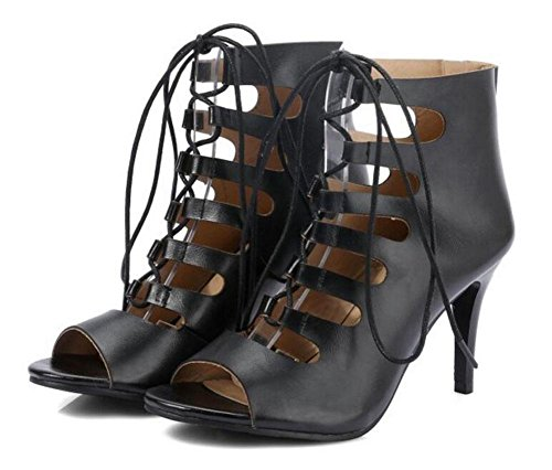 GLTER Frauen Pumps Peep Toes Cross-Strap hochhackigen römischen Schuhe Sandalen Hollow Court Schuhe Black
