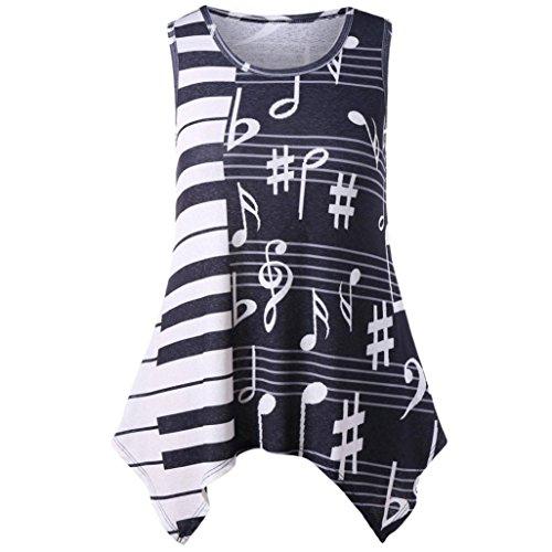 TWIFER Musikalische Elemente Bluse Damen Mode Sommer Tank Top Camisole Ärmelloses T-Shirt (T-shirt Verstehen, Grünes)