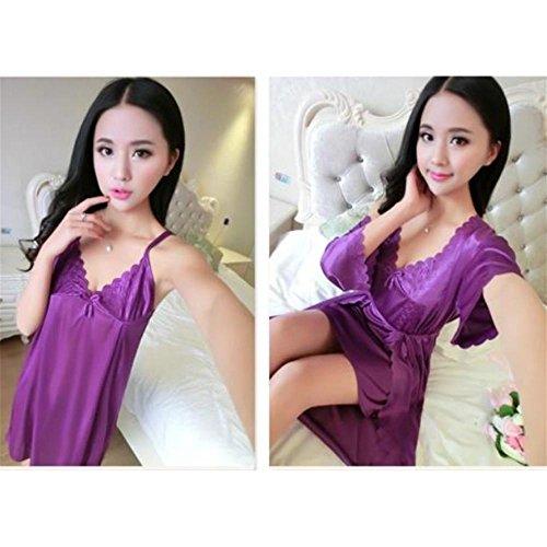CHUNHUA Printemps/été soie chemise de nuit sexy deux pièces v-Neck chemise de nuit maison code de service femmes , e , Free c