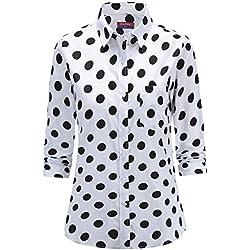 Dioufond Camisas Mujer Manga Larga Estampada de Lunares de Moda de Casual Camisetas (Blanco+44)