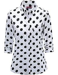 75eef81e160703 Dioufond Klassics Slim Damen Pflegeleicht Baumwollbluse Langarm Punkte  Design Print/Kleine Kirschen Stoffdruck Hemd Arbeit Shirts Modell mit…