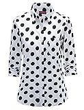 Dioufond Klassics Damen Pflegeleicht Baumwollhemd Langarm Punkte Design Bluse Tupfen-Druck Formal Plain Arbeit Shirts Polka Dot Oberteile mit Tasche(Tag L/US S, Weiß)