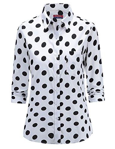 Dioufond Klassics Damen Pflegeleicht Baumwollhemd Langarm Punkte Design Bluse Tupfen-Druck Formal Plain Arbeit Shirts Polka Dot Oberteile mit Tasche(Tag 3XL/ US L, Weiß)