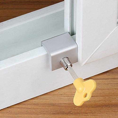 Belüftete Tür-sicherheit (FADDR 8 STÜCKE Tür Fenster Lock Stopper Einstellbare Dicke Schiebe,schützen die Sicherheit ihrer Kinder und verbessern gleichzeitig die Luftzirkulation(8Pcs))