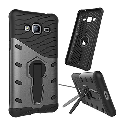 YHUISEN Galaxy J3 2016 Case, Hybrid Tough Rugged Dual Layer Rüstung Schild Schützende Shockproof mit 360 Grad Einstellung Kickstand Case Cover für Samsung Galaxy J3 / J3 2016 J310 ( Color : Black ) Black