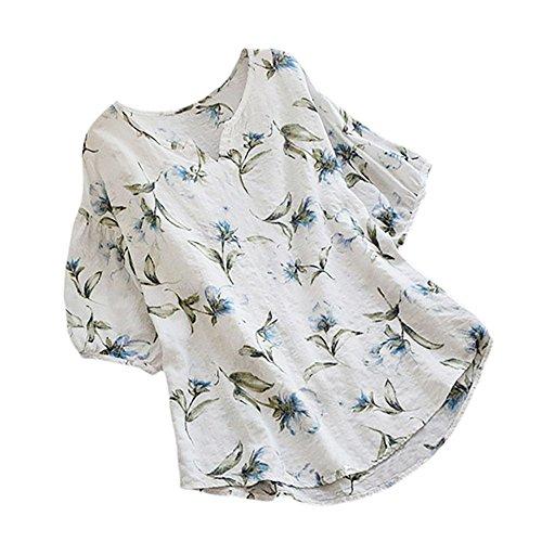 YCQUE Frauen Shirt Sommer Baumwollmischung Mode Lässig Plus Größe V-Ausschnitt Halbe Hülse Vintage Boho Blumendruck Tops Lose Bluse Halbe Hülse