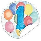 Zahl 1 aquareller Aufkleber | Individualisieren Sie Geschenke mit einem tollen Sticker | 9,5 cm | rund | GRATIS