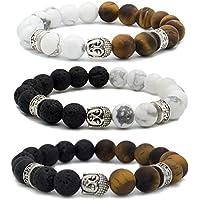 Bivei Armband, Buddhistische Gebetskette, natürlicher Lavastein/weißer Türkis/Tigerauge, ätherisches Öl,silberfarbener... preisvergleich bei billige-tabletten.eu