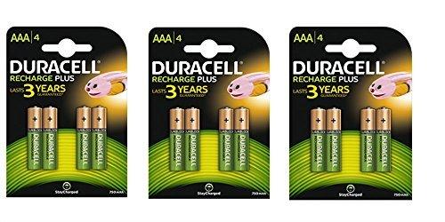 12x AAA 750mAh 1,2V NiMh Duracell vorgeladene wiederaufladbare Batterien HR03-3Packungen Duracell Pre-charged Rechargeable