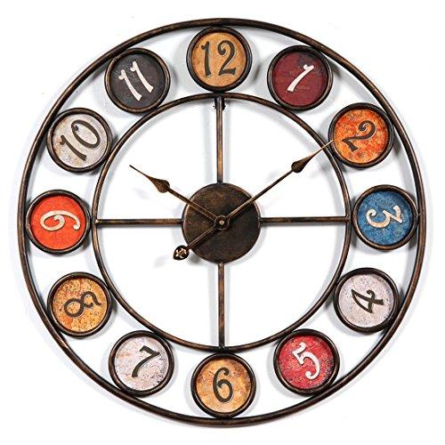 Jo332Bertram Wanduhr Lautlos 60cm Groß Wanduhren Metall Vintage Uhr Ohne Tickgeräusche Dekorative Wanduhr für Küche, Wohnzimmer Oder Büro