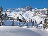 wandmotiv24 Fototapete Vliestapete Verschneite Alpen KT454 Größe: 350x260cm Gebirge Winder Schnee