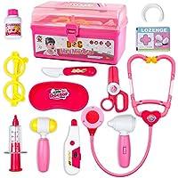 Malette Docteur EnfantJouet-Jeu d'imitation-Kit du Docteur Médicale Jouet Avec Accessories-Pour Fille Garcon Enfants 3 4 5 ans (Rose)